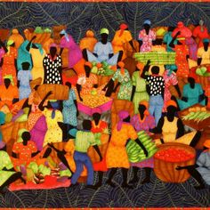 Caribbean quilt named. 'The Market' by Pam Holland 113 cm X 68 cm. Its a medium size wall quilt. The design is similar to paintings I saw in Haiti on a tour and my own illustrations and art expressions. African Quilts, Houston, Contemporary Quilts, Textiles, Quilting Designs, Quilt Design, Quilting Ideas, Applique Quilts, Fabric Art