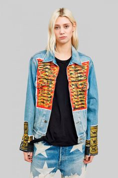 Military inspired hand painted denim jacket. 100% cotton Faith Connexion Painted Denim Jacket, Printed Denim, Military Jacket, Upcycle, Jeans, Faith, Sweaters, Cotton, Jackets