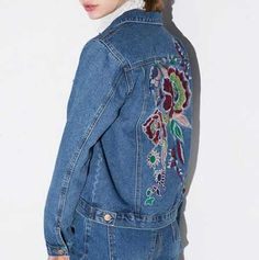505aa63467 Flower embroidered jean jacket for women blue jacket coat short style