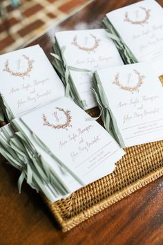 Calligraphy and Design by: Lowcountry Paper Co. | Ceremony Programs | Copper and Green Programs | Monogram Programs