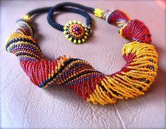 Beaded Summer  Sunny Long Necklace by ARTSTUDIO51 $225.00