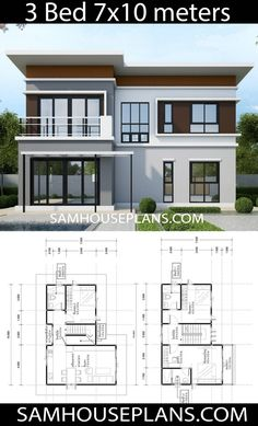 House Plans Idea 107 with 3 Bedrooms Sam House Plans Model House Plan, My House Plans, House Layout Plans, Simple House Plans, Duplex House Plans, Simple House Design, House Front Design, Bedroom House Plans, Modern House Design