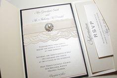NADINE Lace Pocketfold Invitation with Pearl Embellishement
