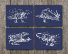 4x Sketch Airplanes Blue Print Fly Machines by AntiqueArtDigital