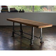 Reclaimed Teak Wood and Steel Bench (India): hallway + cushion + storage basket underneath