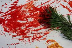 A great winter/Christmas painting activity for kids!  Depending on the technique used by the child, there may be some exciting splatters happening so make sure you prepare for some fun mess to be happening!