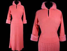 WoW Vintage 1950s PINK SWEATER SET Fuzzy Angora Collar &