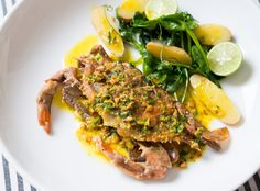 Fans of soft-shell crab look forward to the season — late spring and early summer — with feverish anticipation The entire delicious crab is edible and may be prepared in many ways; deep-fried, grilled or pan-cooked Here they are sautéed in a spicy curry butter, which complements the crabs' rich flavor
