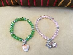 Crystal stretch bracelets with charms and Miraculous Virgin medal #bestofEtsy #etsymnt