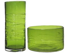 Green Glass Vase and Bowl