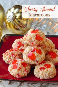 Easy Cherry Almond Macaroons, two favourite flavours combine with coconut to create this very festive looking treat. So easy to make & they freeze well too.