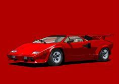 Lamborghini Countach Rosso Siviglia (US spec) Lamborghini Cars, Classic Motors, Exotic Cars, Super Cars, Italy, Vehicles, Motor Sport, Artworks, Red