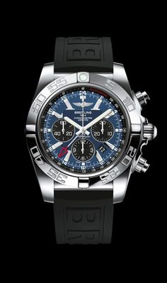 Chronomat GMT traveler's watch by Breitling - Steel case, Blackeye blue dial, black Diver Pro III strap. #menswatchesbreitling