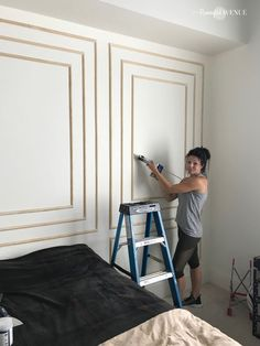 How to install modern wall molding How do you make a HUGE design impact on one wall without any wall. wall How to install modern wall molding How do you make a HUGE design impact on one wall without any wall… Interior Design Books, Interior Design Software, Interior Colors, Interior Modern, Modern Wall Paneling, Paneling Walls, Wall Panelling, Trim On Walls, Modern Wall Paint