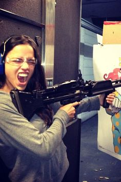 "Fast and Furious star Michelle Rodriguez hit up the gun range in Las Vegas during her City Of Sin vacation. Defending her weekend of fast cars and big guns, M. Rod tweeted on Aug. 11, 2013: ""I gotta say even though I like the playground of Guns and Fast Cars I mean no harm to any other living thing..."""