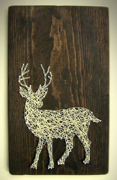 White Tailed Deer Silhouette - Modern String Art Tablet by NineRed on Etsy Hirsch Silhouette, Deer Silhouette, String Art Diy, Nail String, Wood Animals, Arte Linear, Fun Crafts, Arts And Crafts, Art Tablet