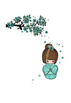 Blue Cherry Blossom Kokeshi Doll Art