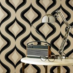 Trippy Black Wallpaper - Retro Wall Coverings by Graham  Brown