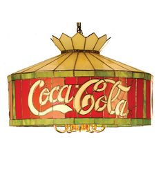 """Back Porch!!!! Our British pillows would go great with this lamp. Coca-Cola 24"""" (6 Bulbs) Stained Glass Hanging Lamp"""