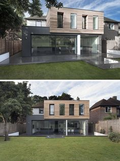 14 Examples Of British Houses With Contemporary Extensions // Large windows, light wood paneling on the top box, and dark exterior walls on the bottom box gave this British home a sleek modern update. Flat Roof Design, House Extension Design, Roof Extension, Bungalow Extensions, House Extensions, Modern Bungalow Exterior, Colonial Exterior, Flat Roof House, Exterior Wall Light