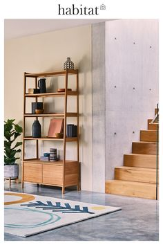 From lava stone tiled dining tables to timber furniture, go au natural this season with pure and natural materials. Find here the pieces that bring character to any room. Oak Shelving Unit, Dyi, Oak Desk, Bookcase Styling, Timber Furniture, Living Room Green, Décor Boho, Room Shelves, Furniture Styles