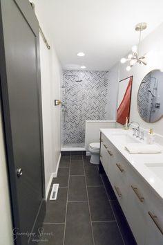 Modern Master Bath Renovation Reveal |©️GarrisonStreetDesignStudio | Bathroom | Master | Reno | Renovation | Remodel | Ideas | Layout | Modern | White | Gray | Grey | Wood | Tile | Rectangle | Chevron | Octagon | Quartz | Misterio | Chrome | Gold | Double | Sink | Vanity | Floating | Simple | Round | Mirror | Spa | His and Hers | DIY | Decor | Small | With Closet | Barn Door | Shower | Seat | Niche | Walk In | Marble | Floor | Dark | Sputnik | MCM | Narrow | On a Budget | Amazing