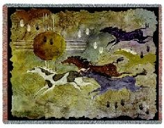 """#Horses and Zia #Woven #Tapestry Throw - www.MyAnimalBlankets.com - Created by noted equestrian artist Ginny Hogan, the charmingly rustic 70"""" x 54"""" tapestry throw blanket is a wonder of elegant craftsmanship. It's made from 100% cotton fibers, too, so it's durable and lasts for years with just basic precautions. Machine wash cold on gentle cycle, tumble dry."""