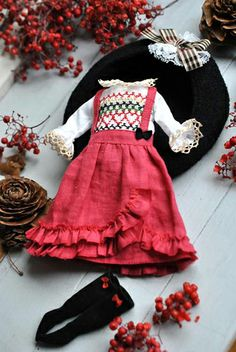 Frilled skirt and smocked blouse