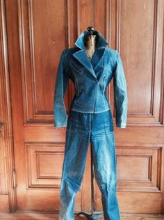 Azzedine ALAIA 1980's vintage denim leather lace up corset motorcycle jacket denim trousers skirt three pieces RARE! made in france No Pin - http://www.gezn.com/azzedine-alaia-1980s-vintage-denim-leather-lace-up-corset-motorcycle-jacket-denim-trousers-skirt-three-pieces-rare-made-in-france-no-pin.html