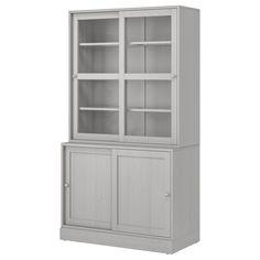 HEMNES Glass-door cabinet with 3 drawers - white stain, light brown - IKEA Bookcase With Glass Doors, Glass Cabinet Doors, Sliding Glass Door, Sliding Doors, Ikea Billy, Hemnes, Scandinavian Furniture, Scandinavian Design, Open Shelving