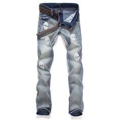 Mens Skull Grapic Jeans
