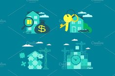 Real estate buying and selling Graphics Keys from the house. Buying real estate Rent house. Building house from the particles of puzzles by Kalinin