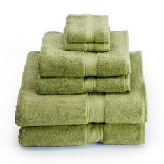 We love the color green in a bathroom. These towels are the perfect shade.