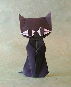 Black Cat by Taichiro Hasagawa (double sided origami, folded from 2 squares of origami paper).
