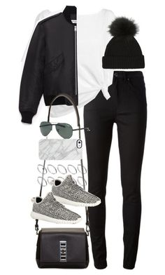 """""""Inspired outfit with a bomber jacket"""" by whathayleywore ❤ liked on Polyvore featuring moda, Acne Studios, Red Herring, ASOS, Yves Saint Laurent, Proenza Schouler, adidas, Ray-Ban ve Uncommon"""