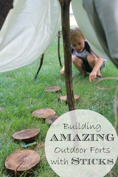 Back to the basics - building a fort with sticks! This nature activity for kids is full of outdoor fun --- and a neat tip that is sure to help any outdoorsy Mama! Outdoor Play Spaces, Kids Outdoor Play, Outdoor Activities For Kids, Nature Activities, Outdoor Learning, Kids Learning Activities, Stem Activities, Outdoor Fun, Summer Activities