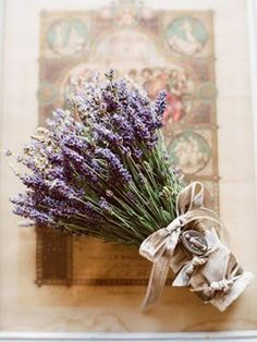 Lavender bouquet w/ religious icon