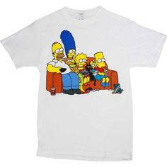 The Simpsons Couch Family Men's White T-Shirt (£11) ❤ liked on Polyvore featuring men's fashion, men's clothing, men's shirts, men's t-shirts, mens t shirts, mens white t shirts and mens white shirts