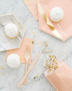 Blush, gold and marble party supplies - click through for more!