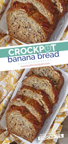 Bake without heating up the kitchen! Try this simple Crockpot Banana Bread Recip… Bake without heating up the kitchen! Try this simple Crockpot Banana Bread Recipe and see how easy baking in your slow cooker is! Slow Cooker Desserts, Slow Cooker Cake, Crockpot Dessert Recipes, Crock Pot Desserts, Crock Pot Cooking, Slow Cooker Recipes, Gourmet Recipes, Baking Recipes, Healthy Dinner Recipes