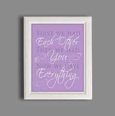 "Nursery Art Print - Purple  Nursery Decor - Baby Girl Nursery - 11X14"" Children's Room Sign on Etsy, $12.00"