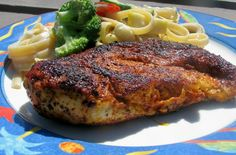 Blackened Chicken....I used thin skinless boneless chicken.  This recipe is delicious done in a cast iron pan which has been heated up on high for 10 minutes.    Also good for sandwiches or in a salad.  Do not over cook chicken.  Blacken and check for doneness.  You want chicken to stay moist,