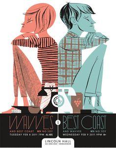 Wavves + Best Coast Poster | Illustrator: Anne Benjamin