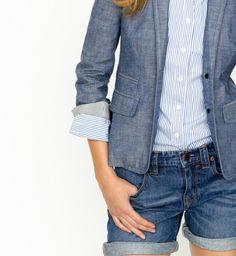 Chambray Schoolboy blazer, striped perfect fit buttondown, vintage denim shorts