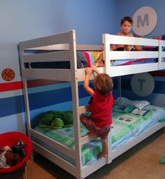 Mydal bunk bed painted white. Great recommendations on how to paint it!
