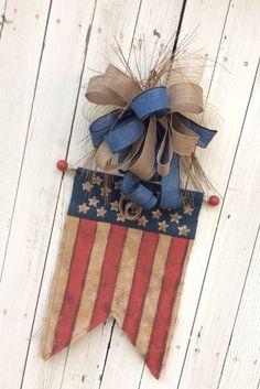 USA Banner Americana Wreath 4th of July Wreath Burlap by Keleas