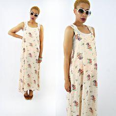 vintage 90s peach FLORAL OVERALL maxi dress size M L by PasseNouveauVintage, $26.00