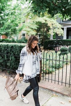 Casual Fall Outfit via Glitter & Gingham // Ft. Patagonia Vest, Nike Sneakers & Leather Leggings