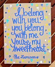 Love this song- a gift for the BF? Custom Scripture or Quote Painting - 8X10 Canvas. $25.00, via Etsy.