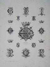 "Elizabeth monogrammes french 19th century engraving 12 x 17"" $110"